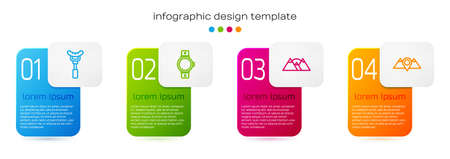 Set line Sausage on the fork, Smartwatch, Mountains and Location mountains. Business infographic template. Vector