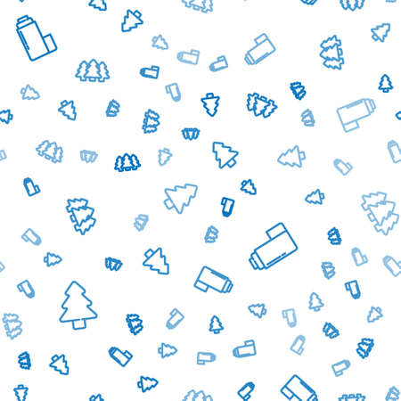 Set line Forest, Thermo container and on seamless pattern. Vector 矢量图像