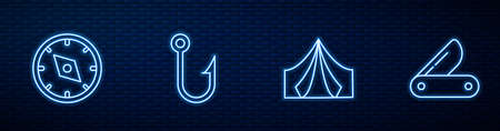 Set line Tourist tent, Compass, Fishing hook and Swiss army knife. Glowing neon icon on brick wall. Vector Ilustracja