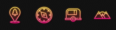Set line Rv Camping trailer, Location of the forest, Compass and Mountains. Glowing neon icon. Vector