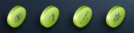 Set Isometric line Stop GMO, Genetically modified apple, Pipette and Biohazard symbol icon. Vector