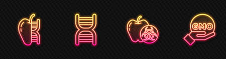 Set line Genetically modified apple, , DNA symbol and GMO. Glowing neon icon. Vector