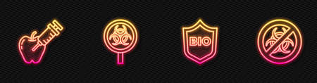 Set line Shield for bio healthy food, Genetically modified apple, Biohazard and magnifying glass and Stop GMO. Glowing neon icon. Vector