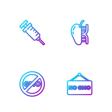 Set line No GMO, , Syringe and Genetically modified apple. Gradient color icons. Vector