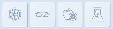Set line GMO, Genetically modified apple, Laboratory glasses and Test tube and flask. White square button. Vector Ilustracja