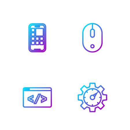 Set line Website statistic, Front end development, Mobile Apps and Computer mouse. Gradient color icons. Vector Ilustração