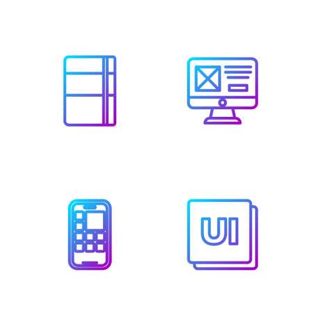 Set line UI or UX design, Mobile Apps, Sketchbook album and . Gradient color icons. Vector Ilustração
