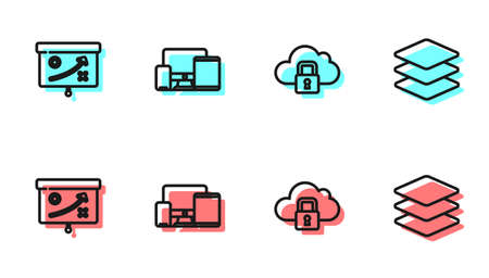 Set line Cloud computing lock, Planning strategy concept, Monitor, mobile, tablet and Layers icon. Vector 矢量图像