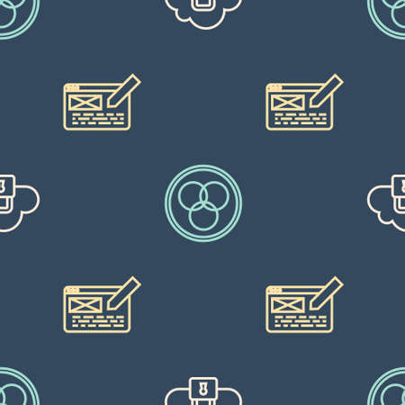 Set line Cloud computing lock, UI or UX design and RGB and CMYK color mixing on seamless pattern. Vector