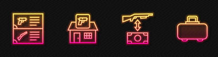 Set line Buying assault rifle, Weapon catalog, Hunting shop weapon and case. Glowing neon icon. Vector 向量圖像