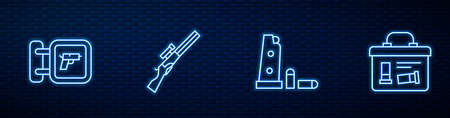 Set line Gun magazine and bullets, Hunting shop weapon, gun and Military ammunition box. Glowing neon icon on brick wall. Vector 向量圖像