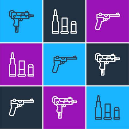 Set line UZI submachine gun, Mauser and Bullet icon. Vector 向量圖像