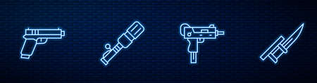 Set line UZI submachine gun, Pistol or, Anti-tank hand grenade and Bayonet on rifle. Glowing neon icon on brick wall. Vector 版權商用圖片 - 157591158