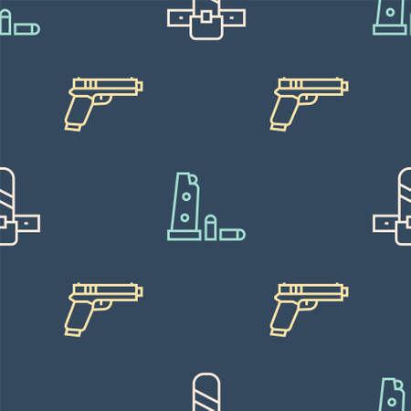 Set line Knife holster, Pistol or gun and Gun magazine and bullets on seamless pattern. Vector 版權商用圖片 - 157591159