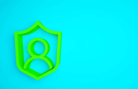 Green User protection icon isolated on blue background. Secure user login, password protected, personal data protection, authentication. Minimalism concept. 3d illustration 3D render
