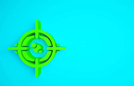 Green Eye scan icon isolated on blue background. Scanning eye. Security check symbol. Cyber eye sign. Minimalism concept. 3d illustration 3D render