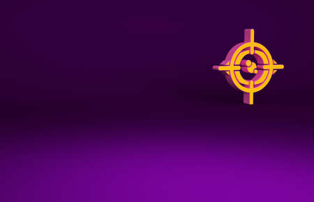 Orange Eye scan icon isolated on purple background. Scanning eye. Security check symbol. Cyber eye sign. Minimalism concept. 3d illustration 3D render