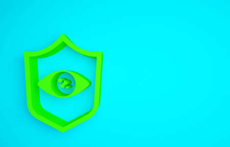Green Shield eye scan icon isolated on blue background. Scanning eye. Security check symbol. Cyber eye sign. Minimalism concept. 3d illustration 3D render
