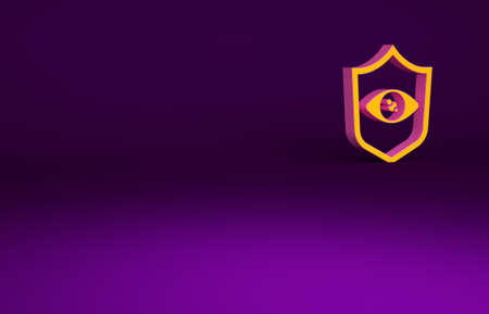 Orange Shield eye scan icon isolated on purple background. Scanning eye. Security check symbol. Cyber eye sign. Minimalism concept. 3d illustration 3D render