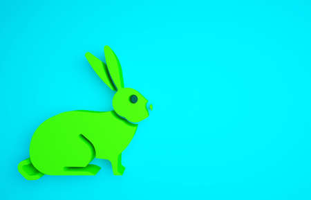 Green Rabbit icon isolated on blue background. Minimalism concept. 3d illustration 3D render