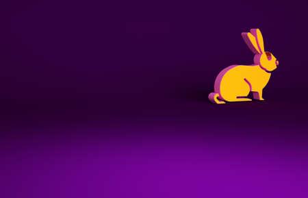 Orange Rabbit icon isolated on purple background. Minimalism concept. 3d illustration 3D render Reklamní fotografie