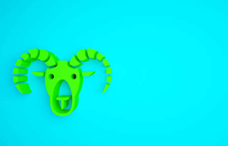 Green Head of goat or ram icon isolated on blue background. Mountain sheep. Animal symbol. Minimalism concept. 3d illustration 3D render Reklamní fotografie