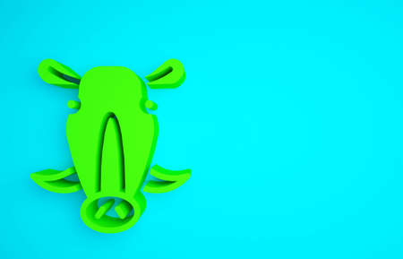 Green Wild boar head icon isolated on blue background. Animal symbol. Minimalism concept. 3d illustration 3D render