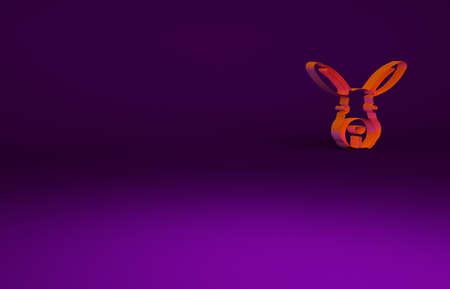 Orange Rabbit head icon isolated on purple background. Minimalism concept. 3d illustration 3D render