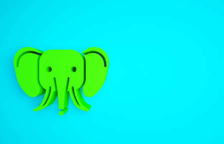 Green Elephant icon isolated on blue background. Minimalism concept. 3d illustration 3D render