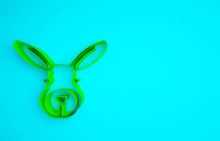Green Rabbit head icon isolated on blue background. Minimalism concept. 3d illustration 3D render