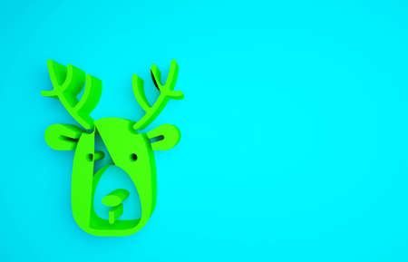Green Deer head with antlers icon isolated on blue background. Minimalism concept. 3d illustration 3D render Reklamní fotografie