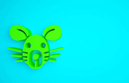Green Rat head icon isolated on blue background. Mouse sign. Animal symbol. Minimalism concept. 3d illustration 3D render