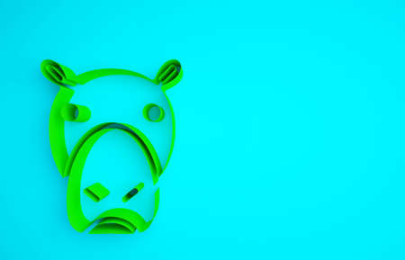 Green Hippo or Hippopotamus icon isolated on blue background. Animal symbol. Minimalism concept. 3d illustration 3D render