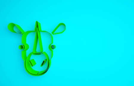 Green Rhinoceros icon isolated on blue background. Animal symbol. Minimalism concept. 3d illustration 3D render