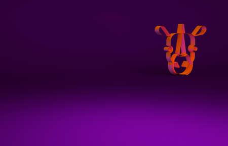 Orange Rhinoceros icon isolated on purple background. Animal symbol. Minimalism concept. 3d illustration 3D render