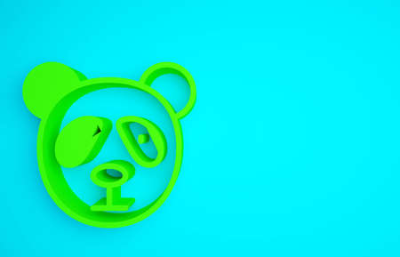 Green Cute panda face icon isolated on blue background. Animal symbol. Minimalism concept. 3d illustration 3D render Reklamní fotografie