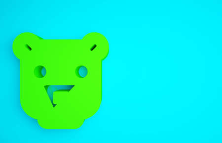 Green Bear head icon isolated on blue background. Minimalism concept. 3d illustration 3D render