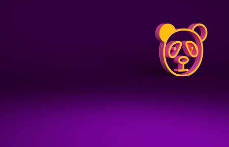 Orange Cute panda face icon isolated on purple background. Animal symbol. Minimalism concept. 3d illustration 3D render Reklamní fotografie