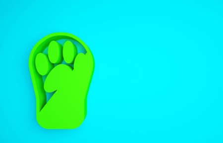 Green Paw print icon isolated on blue background. Dog or cat paw print. Animal track. Minimalism concept. 3d illustration 3D render