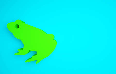 Green Frog icon isolated on blue background. Animal symbol. Minimalism concept. 3d illustration 3D render