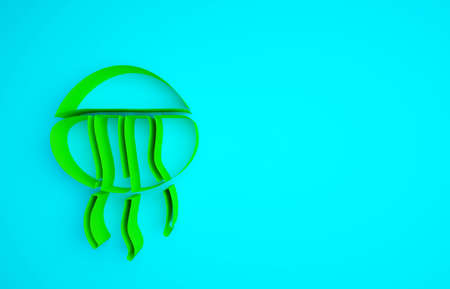 Green Jellyfish icon isolated on blue background. Minimalism concept. 3d illustration 3D render