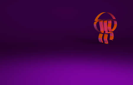 Orange Jellyfish icon isolated on purple background. Minimalism concept. 3d illustration 3D render