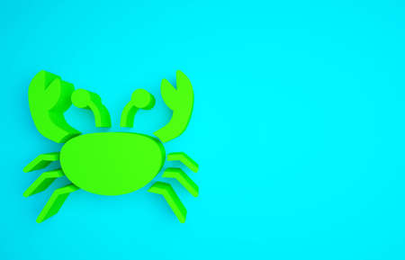 Green Crab icon isolated on blue background. Minimalism concept. 3d illustration 3D render