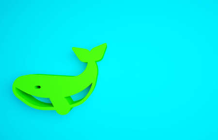 Green Whale icon isolated on blue background. Minimalism concept. 3d illustration 3D render