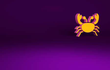 Orange Crab icon isolated on purple background. Minimalism concept. 3d illustration 3D render