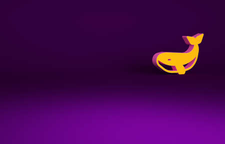 Orange Whale icon isolated on purple background. Minimalism concept. 3d illustration 3D render