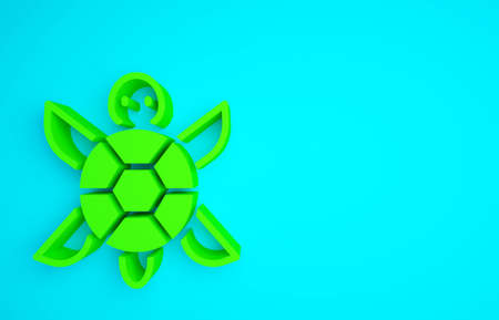 Green Turtle icon isolated on blue background. Minimalism concept. 3d illustration 3D render