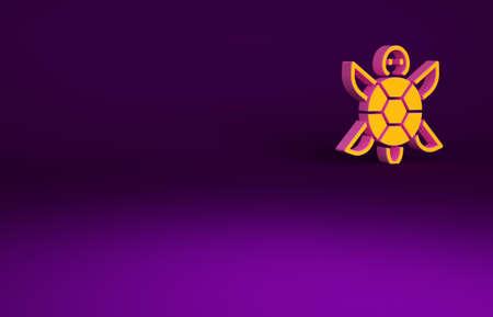 Orange Turtle icon isolated on purple background. Minimalism concept. 3d illustration 3D render