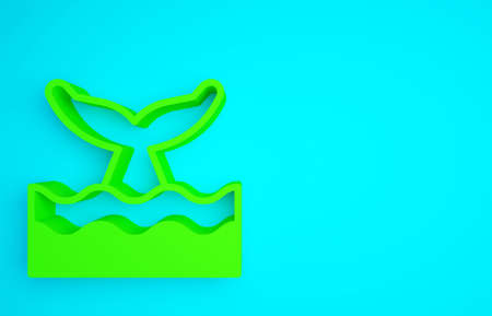 Green Whale tail in ocean wave icon isolated on blue background. Minimalism concept. 3d illustration 3D render