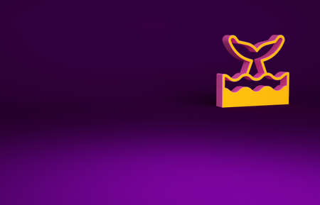Orange Whale tail in ocean wave icon isolated on purple background. Minimalism concept. 3d illustration 3D render Reklamní fotografie